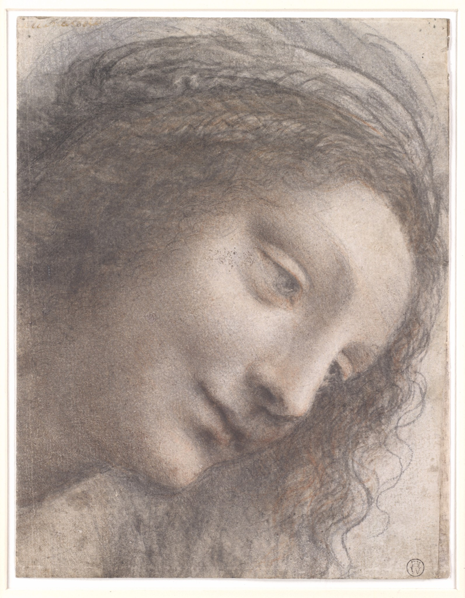 The Head of the Virgin in Three-Quarter View Facing Right, Leonardo da Vinci, 1508–12, The Metropolitan Museum of Arts, New-York City, USA.