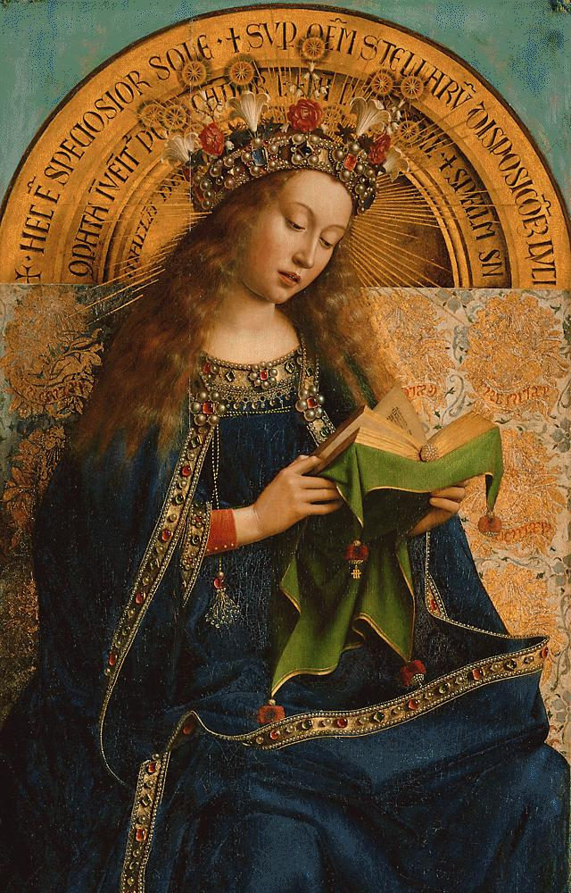 Virgin Mary, detail from the Ghent Altarpiece, Hubert van Eyck, Jan van Eyck, 1432, St Bavo's Cathedral, Ghent, Belgium