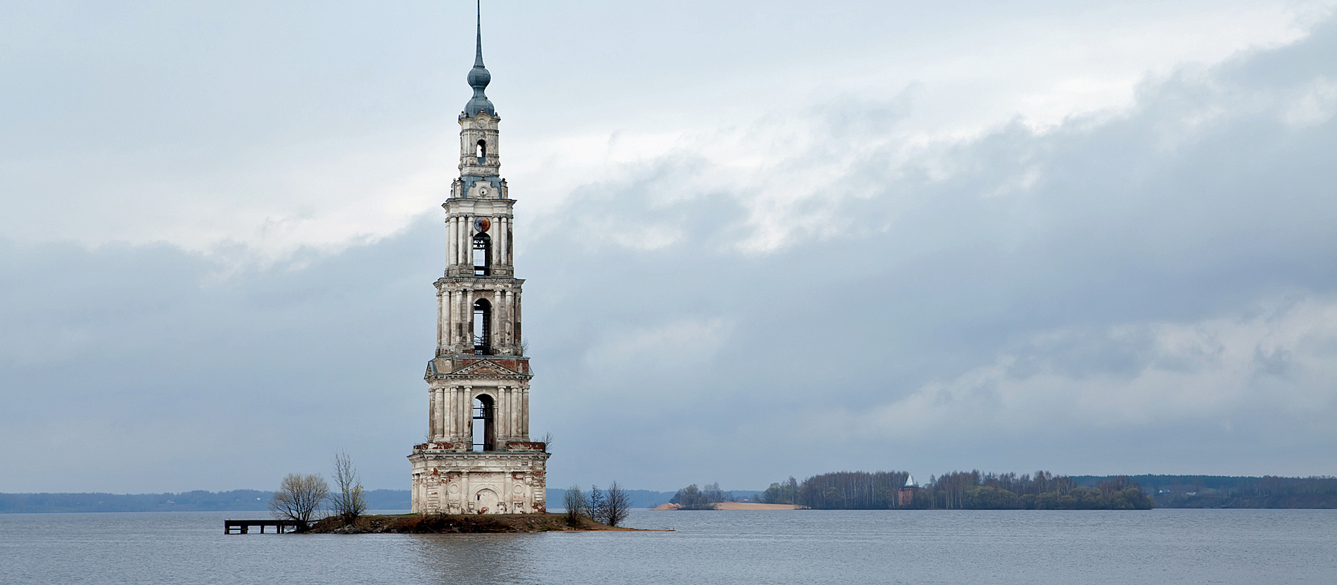 In 1940s the monastery and most of the old Kalyazin town (Russia) were flooded during the construction of the Uglich Reservoir