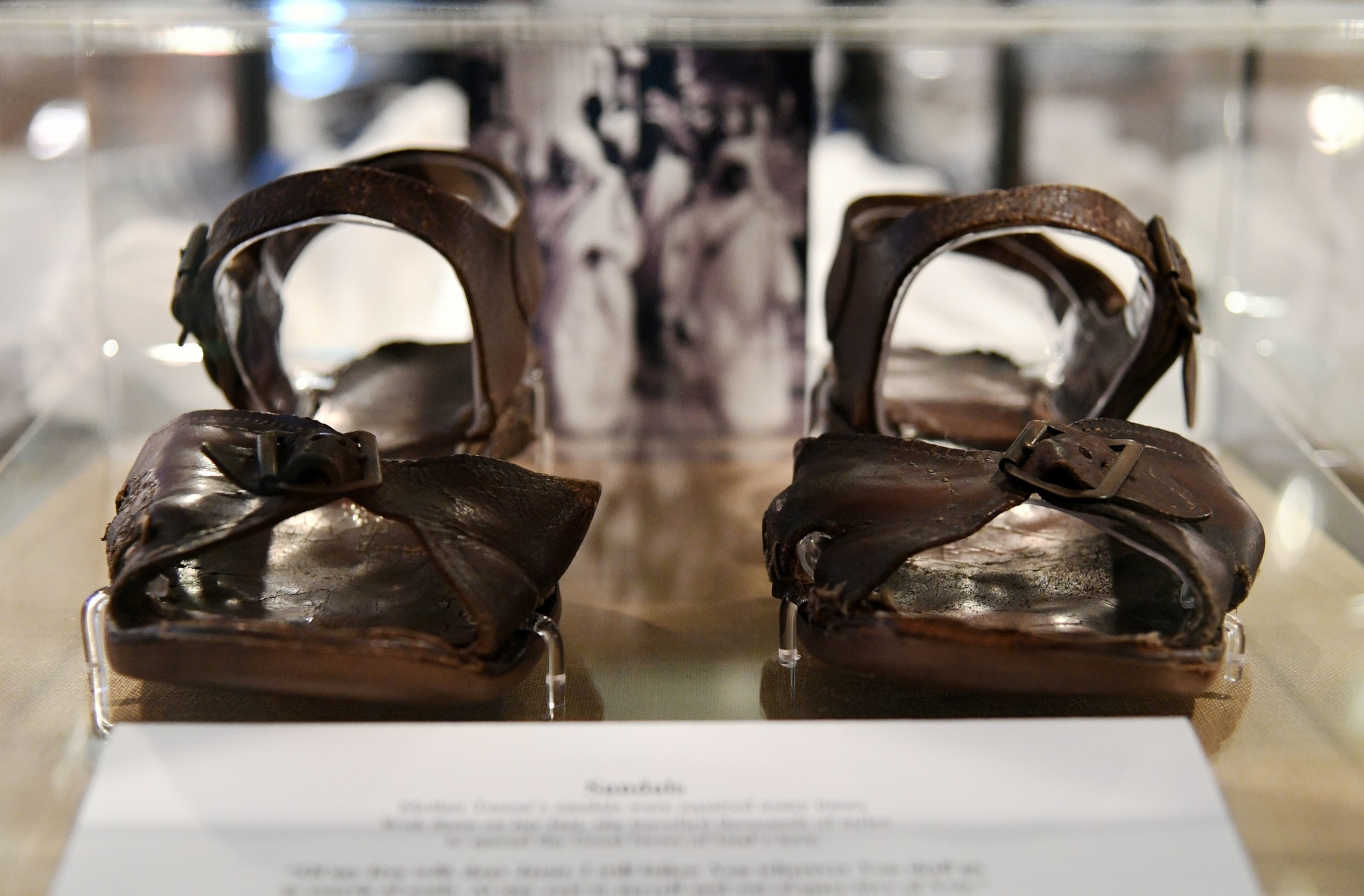 This picture taken on September 1, 2016, shows Mother Teresa's sandals, the Albanian Roman Catholic nun and missionary, displayed during a photographic exhibition in Rome. A full programme to mark the conferring of sainthood on the late Albanian Roman Catholic nun and missionary includes a photographic exhibition and a musical comedy on September 1, 2016, a prayer evening on September 2, and a catechism which Pope Francis will preside over September 3. The canonisation will then be held Sunday in St Peter's Square in a ceremony set to draw tens of thousands of faithful to recognise the sainthood of the 1979 Nobel Peace Prize winner, who died aged 87 in India in 1997.  / AFP / vincenzo pinto        (Photo credit should read VINCENZO PINTO/AFP/Getty Images)