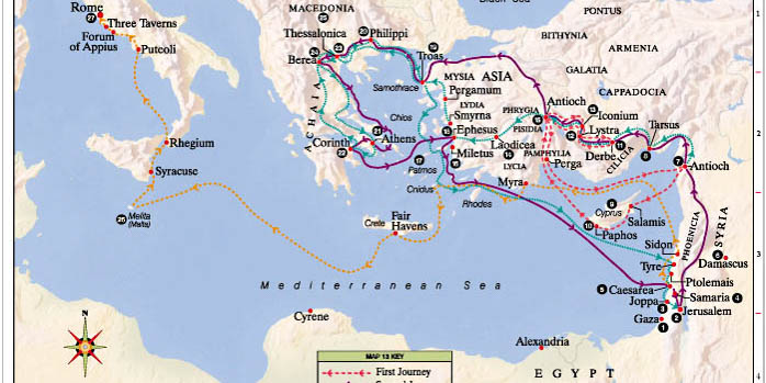 APOSTLE PAUL'S MISSIONS MAP