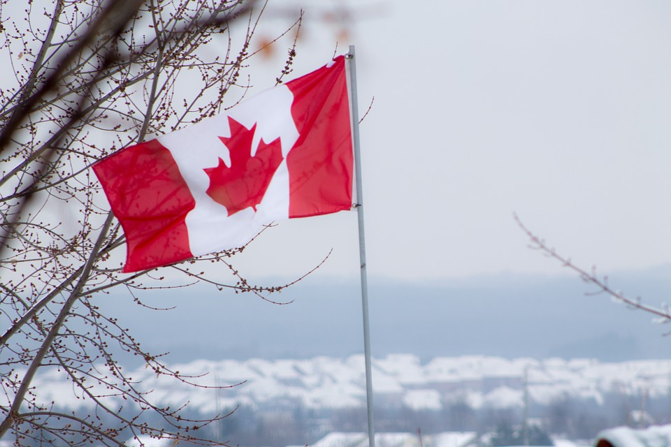 Flag Canada Red White Canadian Winter