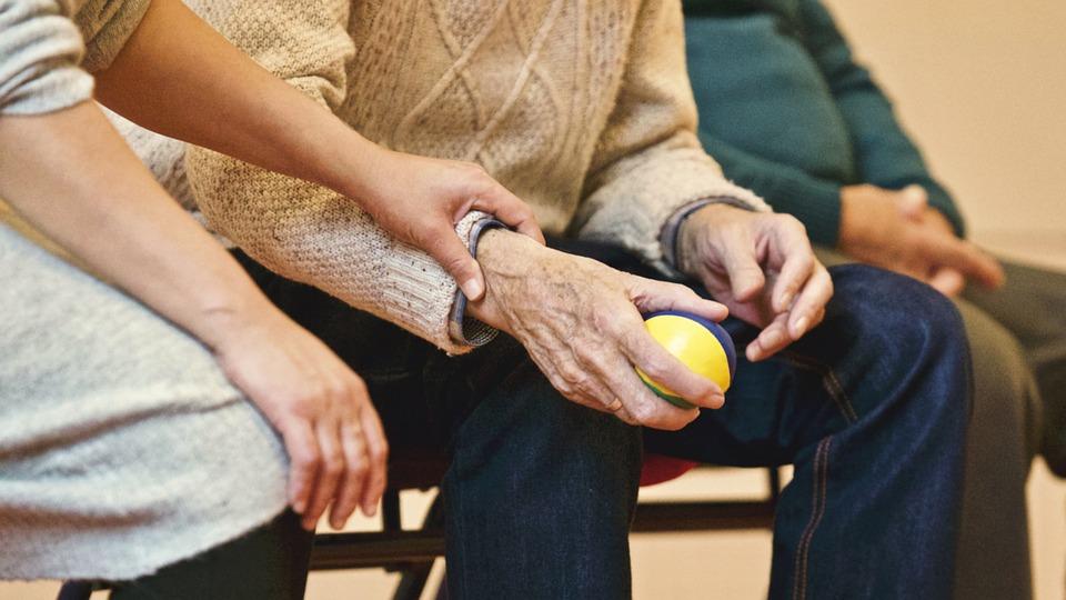 Ball People Old Elderly Man Sitting Woman
